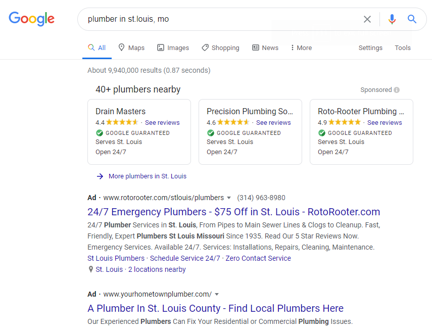 plumber in st louis results page